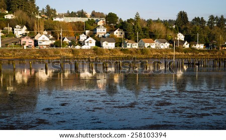Houses Along Youngs Bay Newhalem HWY Astoria Oregon - stock photo