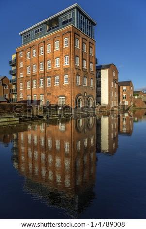 houses alongside canal worcester city england uk - stock photo