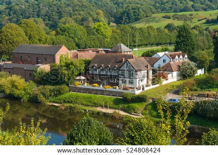 Houses and Autumn landscape of Bridgnorth and countryside of Shropshire, West Midlands, England.