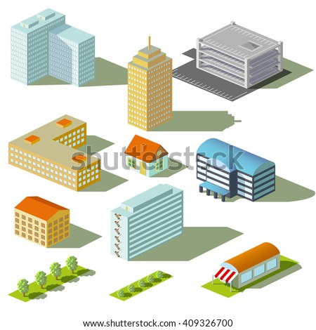 Houses and buildings isolated on white background. Isometric view. Stock illustration