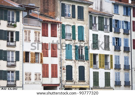 houses and buildings of Bayonne - stock photo