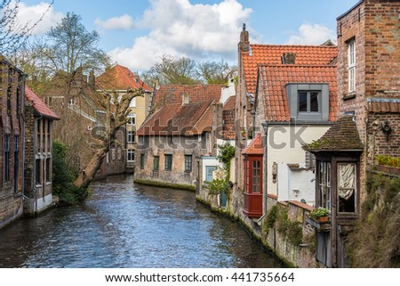 Houses and canals in Bruges, Belgium, Europe
