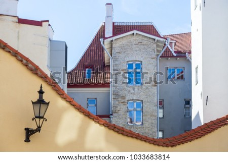 Houses and Reverse arch on the Lai street in Tallinn