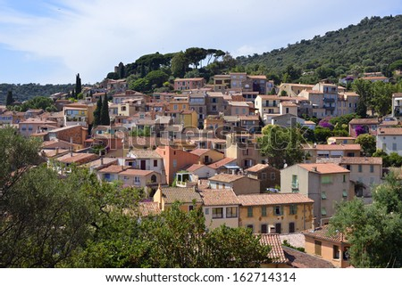 Houses and roofs of village Bormes-les-Mimosas mediterranean region, commune in the Var department, Provence, C�´te d'Azur and Alps region, in the south of France - stock photo