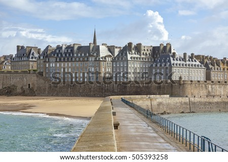 Houses at the walled city of Saint-Malo, view from the pier