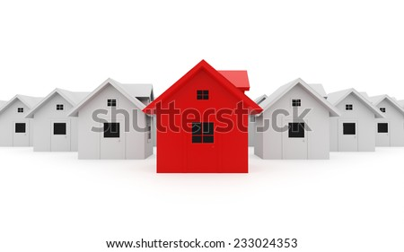 Houses business concept one is red
