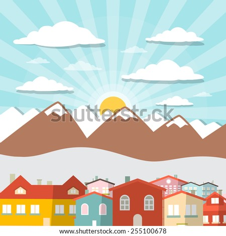 Houses - City Mountain Flat Design Illustration