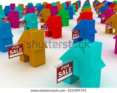 Houses colored  for sale, 3D rendering