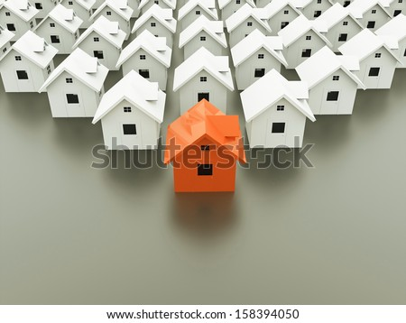 Houses concept one is orange - stock photo