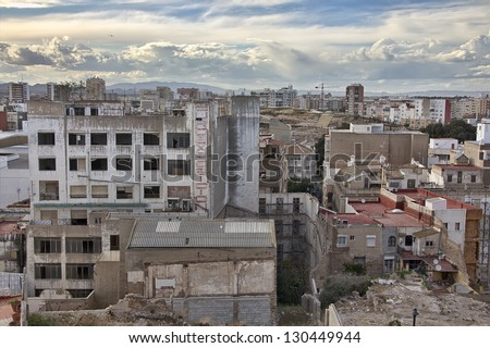 houses destroyed in the city of Cartagena in Murcia, Spain - stock photo