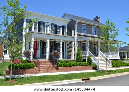 Houses in a New Suburban American Neighborhood - stock photo