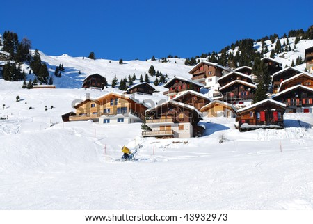 Houses in Alps - stock photo