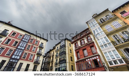 Houses in Bilbao old casco viejo - stock photo