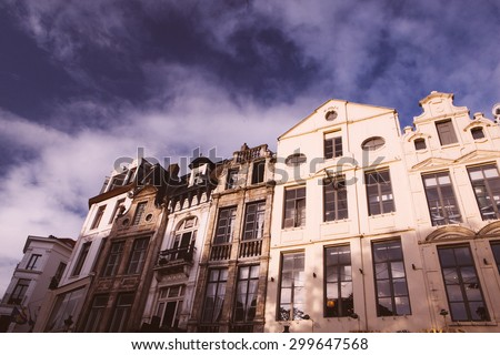 houses in Brussels, street with traditional architecture in Belgium - stock photo