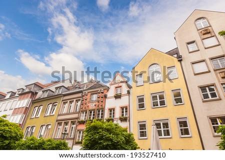 Houses in Dusseldorf Altstadt, the Old Town City Center - stock photo