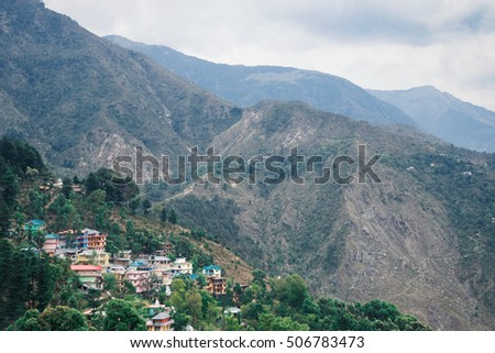 Houses in McLeodGanj in the Himalayan mountains, India