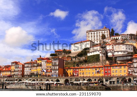 Houses in old part of Ribeira, Porto, Portugal - stock photo