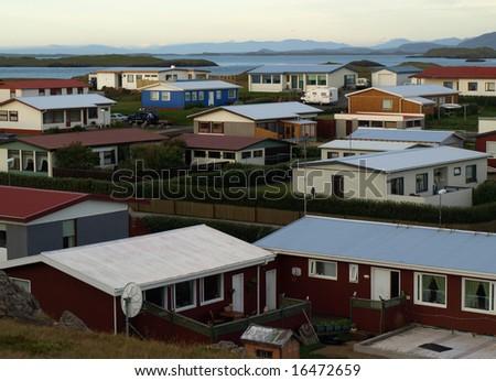 Houses in Stykkisholmur, Snaefellsnes peninsula, Iceland - stock photo