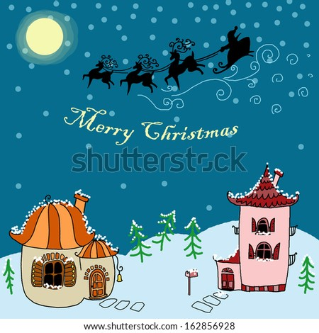Houses in the Christmas Night - stock photo