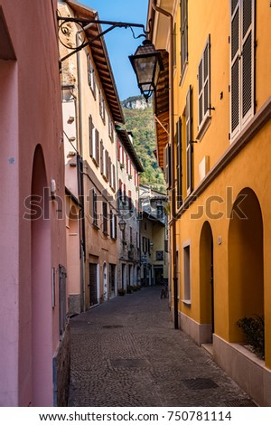 Houses in the old town Gravedona on Lake Como