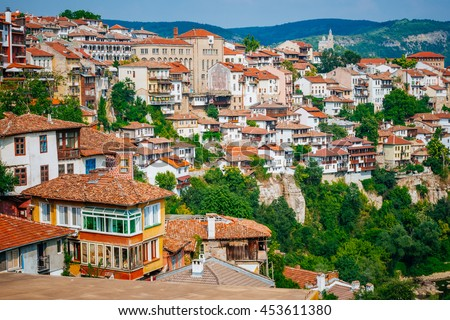 Houses in Veliko Tarnovo, a city in north central Bulgaria
