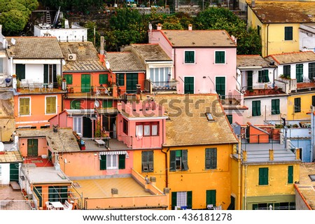 Houses in Vernazza (Vulnetia), a small town in province of La Spezia, Liguria, Italy. It's one of the lands of Cinque Terre, UNESCO World Heritage Site