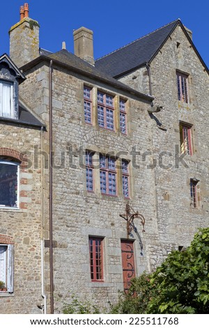 houses inside the mont saint-michel in the north of france - stock photo