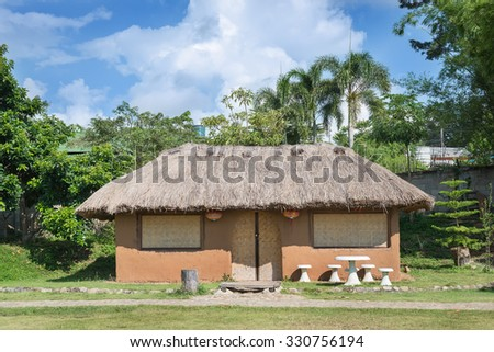 houses made of clay in hill at Santichon village,Pai ,Mae Hong Son. - stock photo