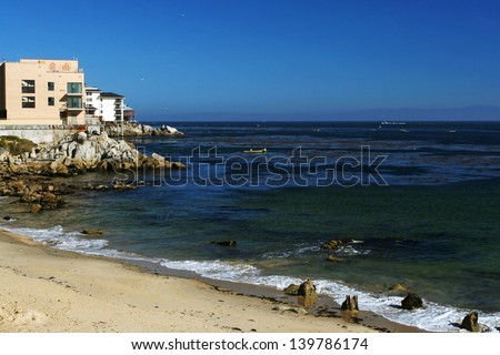 Houses near a coast at Monterey in California, USA - stock photo