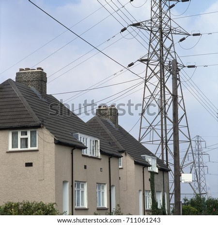Houses Next Electricity Transmission Tower Uk Stock Photo (Royalty ...