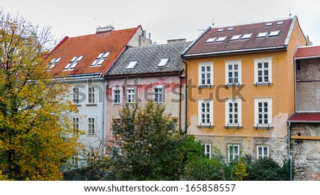 Houses of different colors in Bratislava, Slovakia