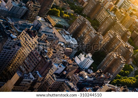 Houses of overpopulated big city - stock photo