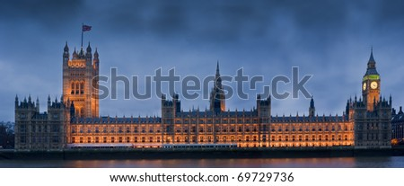 Houses of Parliament, also known as the Palace of Westminster, rebuilt in the 19th Century by Charles Barry and Augustus Pugin in a Neo-Gothic style. - stock photo
