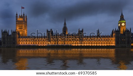 Houses of Parliament, also known as the Palace of Westminster, rebuilt 19th Century by Charles Barry and Augustus Pugin in a Neo-Gothic style. Located in Westminster on the bank of the River Thames.