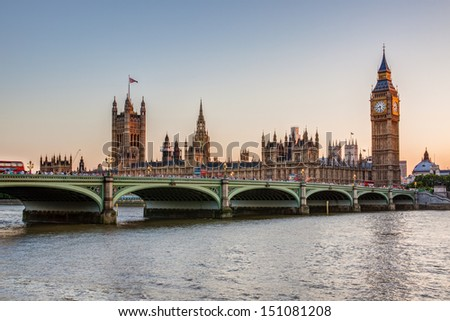 Houses of Parliament and Big Ben at dusk, London - stock photo
