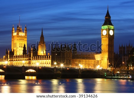 Houses of Parliament and Big Ben in London