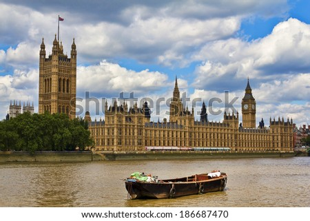 Houses of Parliament and Big Ben in Westminster, London. - stock photo