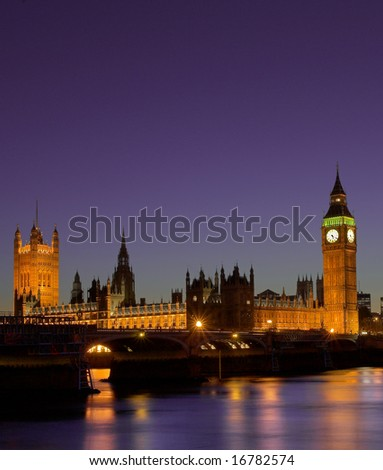 Houses of Parliament at night London