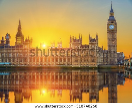Houses of parliament at sunset, London, UK - stock photo