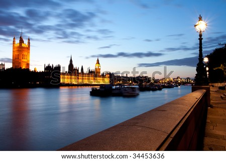 Houses of Parliament from the albert embankment - stock photo