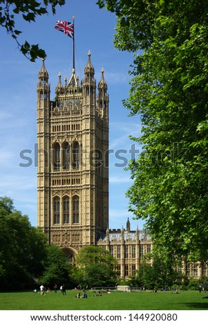 Houses of Parliament in London, England on a sunny summer day - stock photo