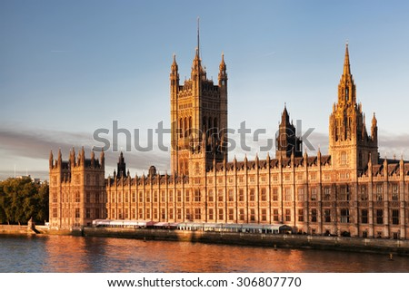 Houses of Parliament in London England UK - stock photo