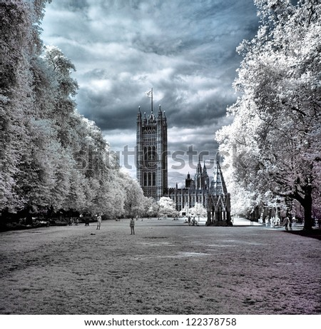 Houses of Parliament, London, United Kingdom. The infrared image. - stock photo