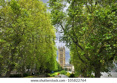 Houses of Parliament tower, London, England - stock photo