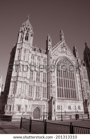 Houses of Parliament, Westminster; London, England, UK in Black and White Sepia Tone
