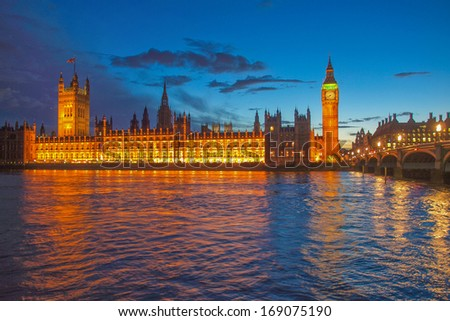 Houses of Parliament Westminster Palace London gothic architecture - at night - stock photo
