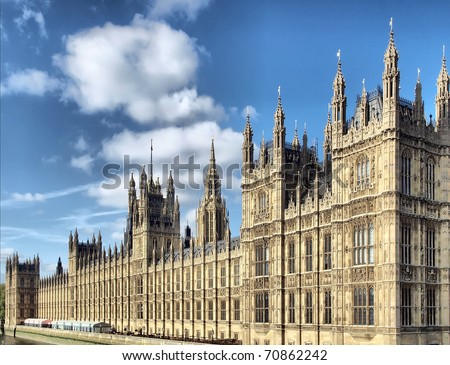 Houses of Parliament, Westminster Palace, London gothic architecture - high dynamic range HDR - rectilinear frontal view - stock photo