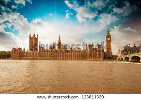 Houses of Parliament, Westminster Palace - London gothic architecture - UK - stock photo
