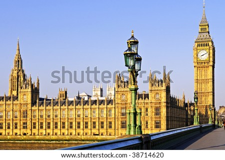 Houses of Parliament with Big Ben in London from Westminster Bridge - stock photo
