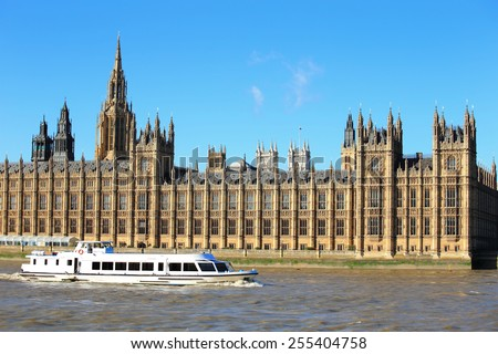 Houses of Parliament with thames river in London, United Kingdom, uk - stock photo